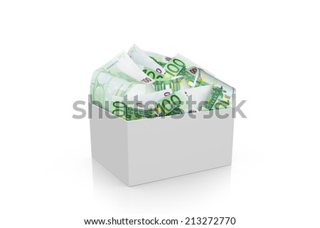 Full of one hundred euro banknotes in white box, isolated on white background. - stock photo