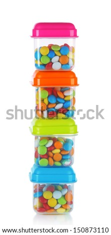 Full of plastic containers isolated on white - stock photo