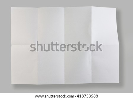 Full page of blank paper folded. Concept of poster background. Isolated on gray background - stock photo