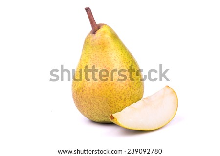 Full pear with cut pieces on a white background - stock photo