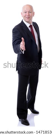 full portrait of a businessman gesturing a handshake isolated on white background - stock photo
