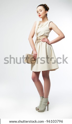 Full Portrait of Beautiful Classy Woman - Fashion sexy Mod. Series of photos. Shopping and Sales Concept - stock photo