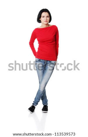 Full portrait of beautiful young woman ( student ) in casual clothes, isolated on white