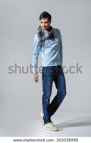 Full portrait of smiling walking man casuals isolated on white background