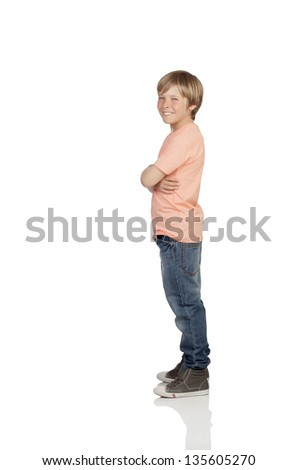 Full profile of a smiling adolescent with a happy gesture isolated on white background - stock photo