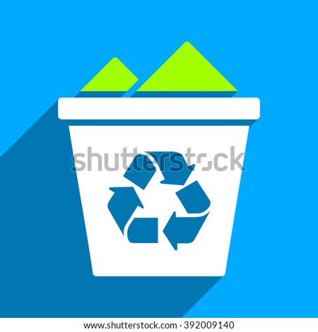 Full Recycle Bin long shadow glyph icon. Style is a flat full recycle bin iconic symbol on a blue square background.
