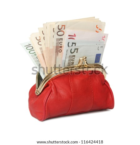 Full red wallet on a white background. - stock photo