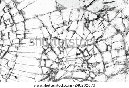 Full screen broken glass, white background horizontal - stock photo