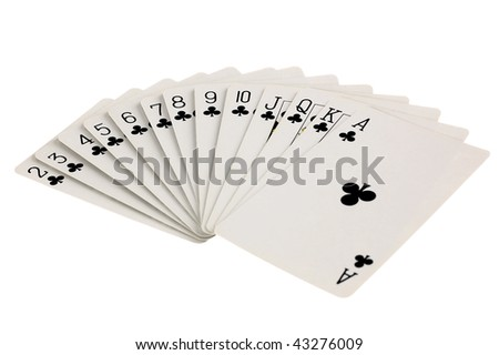 Full set of club suit playing cards isolated on white background