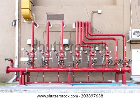 full set of water sprinkler and fire fighting system control pan - stock photo
