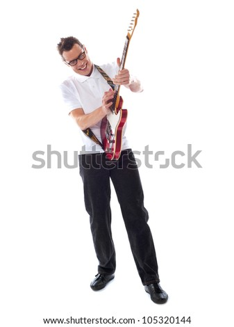 Full shot of a caucasian guitarist isolated over white background - stock photo