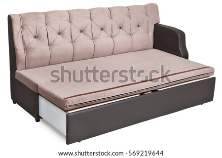 fullsize folding sofabed light brown fabric with storage space isolated on