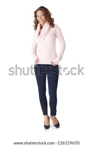 Full size photo of happy casual woman, smiling, hands in pocket.