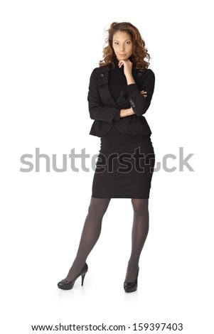 Full size portrait of attractive businesswoman over white background.