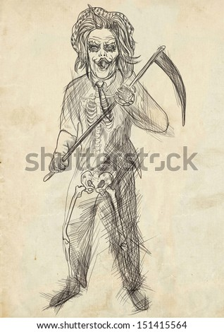 Full-sized (original) hand drawing. Halloween theme with scary monster. Reaper. Black outlines drawing on old paper. - stock photo