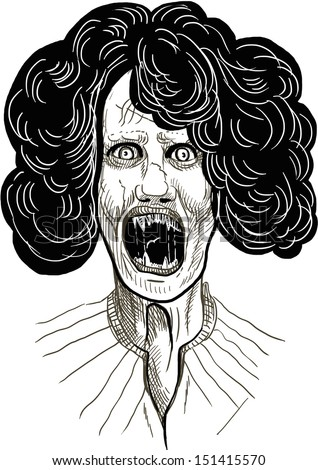 Full-sized (original) hand drawing. Halloween theme with scary monster. Vampire - rich hairstyle on the head. Black outlines isolated on white. - stock photo