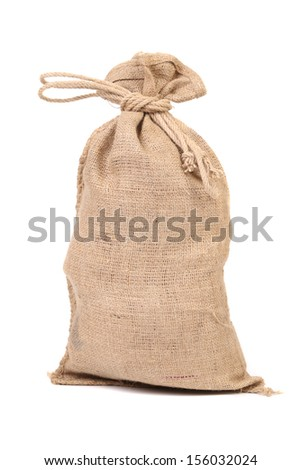 Full small sack. Isolated on a white background. - stock photo