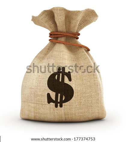 Full small sack witw dollar, isolated on white background