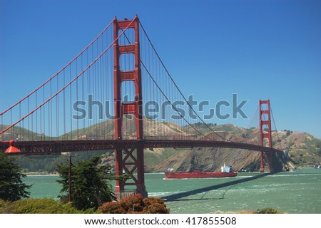 Full span of Golden Gate Bridge over the San Francisco Bay