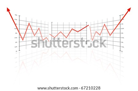 Full success on a white background with red lines and copy space - stock photo