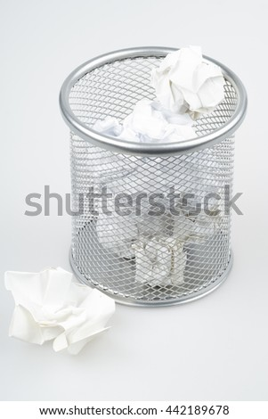 Full trash bin. Recycle paper concept.  - stock photo
