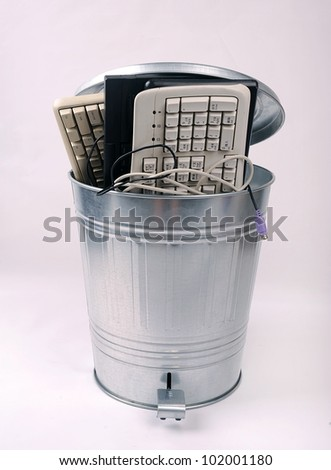 Full trash of used computer keyboards and cables Isolated - stock photo