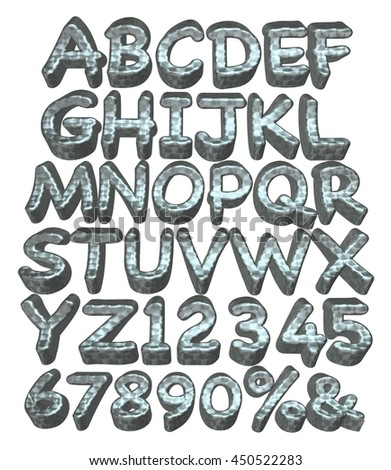 Full Uppercase alphabets with number and sign of metallic in 3d rendered on white background.