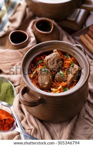 full view of indian dum biryani lamb - stock photo