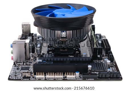 Full view of PC mainboard with CPU, RAM and big cooling system installed. Isolated on white background. - stock photo
