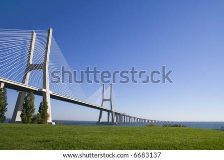 "full view of ""Vasco da Gama"" bridge architecture - stock photo"