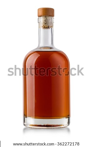 Full whiskey bottle isolated on white background with clipping path - stock photo