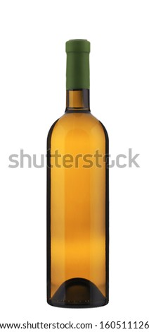 Full white wine bottle. Isolated on a white background.