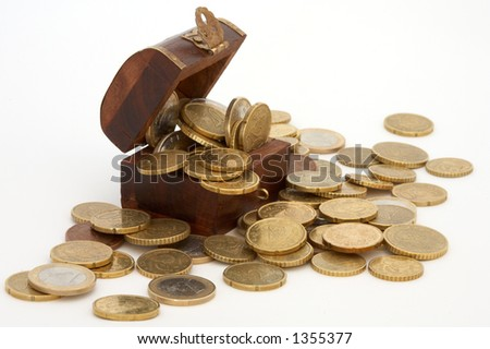 full wood coffer of currencies