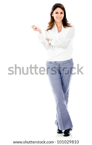 Fullbody business woman - isolated over a white background