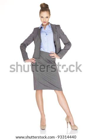Fullbody business woman smiling isolated over a white - stock photo