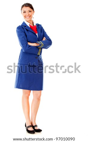 Fullbody flight attendant standing isolated over a white background - stock photo