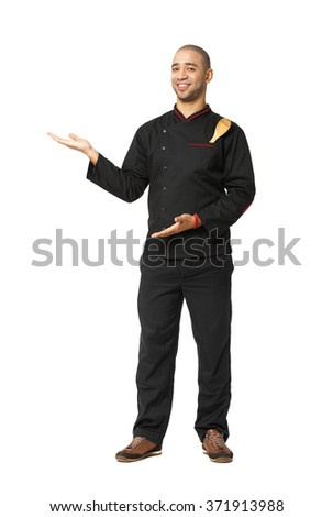 Fullbody portrait of Afro American professional cook presenting isolated on white.