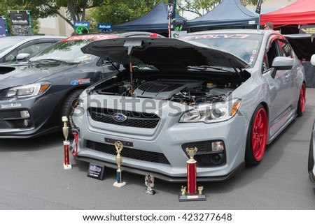 Fullerton, USA - May 14, 2016: Subaru WRX STI during Extreme Dimensions Car Show.