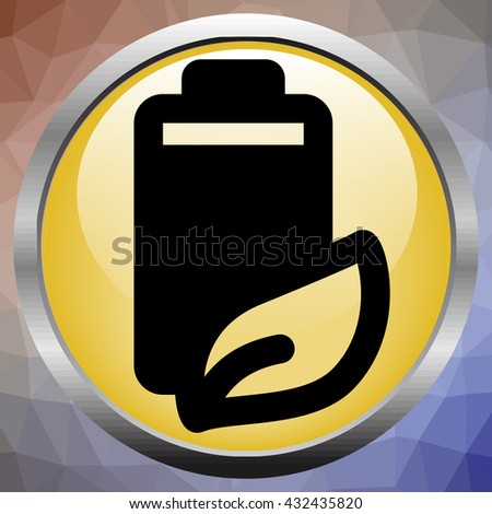 Fully charged green battery icon - stock photo