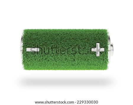 Fully charged green battery icon. Eco energy concept - stock photo