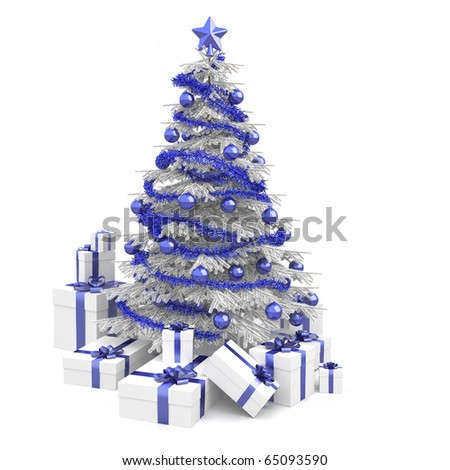 Fully decorated christmas tree in blue and white colors with many presents and isolated on white background - stock photo
