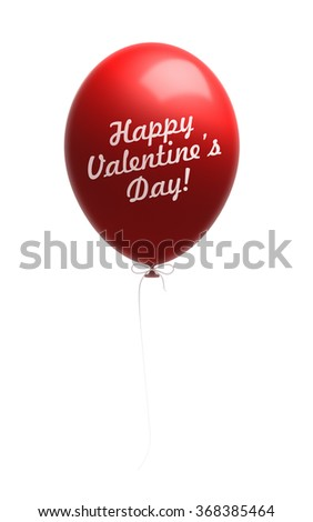 Fully inflated red balloon with Happy Valentine's Day message. Balloon is attached to a white string. Isolated on white background. Clipping path included. - stock photo
