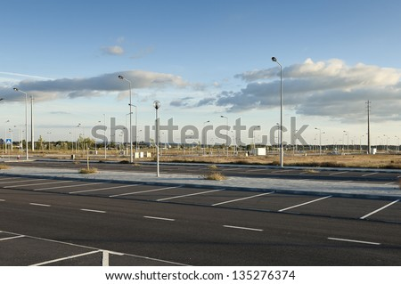 Fully infra-structured vacant lots ready for construction in the industrial park of Evora, Portugal - stock photo
