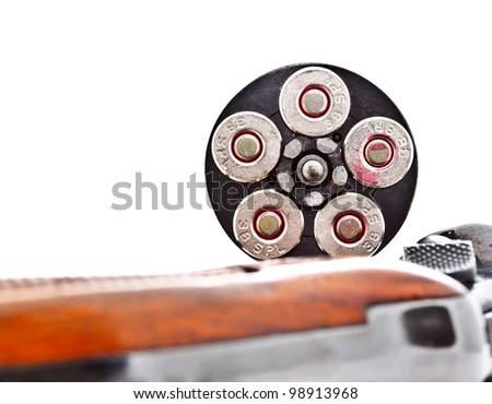 fully loaded chamber of revolver handgun - stock photo