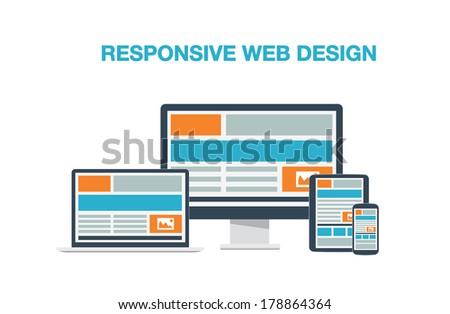 Fully responsive web design flat computer icons illustration. - stock photo