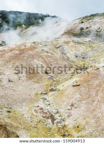 Fumarole fields on the small Valley of Geysers near Petropavlovsk - Kamchatka, Russia
