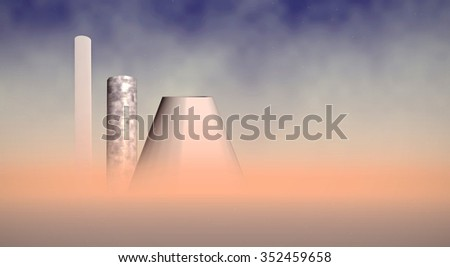 fumed chimneys in desert - stock photo