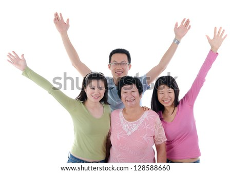 fun adult asian chinese family - stock photo