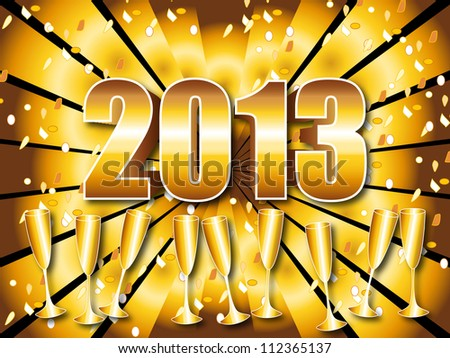 Fun and festive 2013 New Year's Eve celebration background with gold sunburst, champagne glasses and confetti.