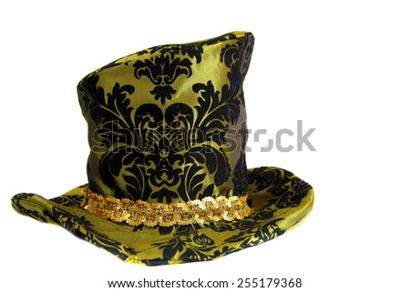 Fun and Funny Hat aka Mad Hatter Hat isolated on white. room for your text - stock photo